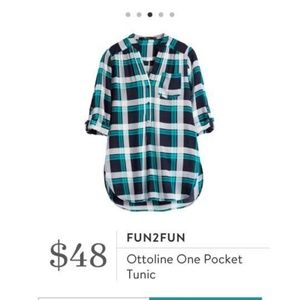 Stitch Fix Fun2Fun Blue Plaid Tunic Top, Size S